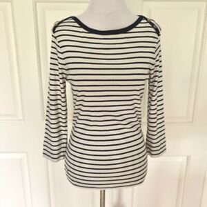 3/4 SLEEVE BOAT NECK IVORY NAVY STRIPE KNIT TOP